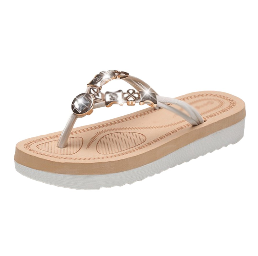 Sentao Frauen Sommer Bouml;hmen Rhinestone flip flop Sandalen Clip Toe Rouml;mische Strand Hausschuhe  Asia36 (L?nge:23.0cm) Beige 2