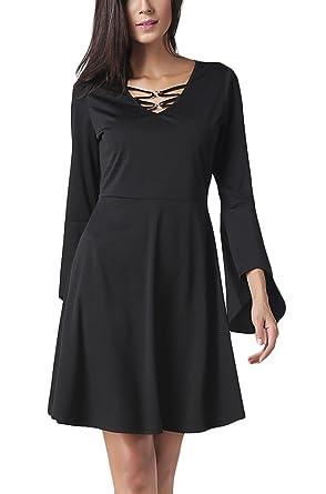 7861032ba90 Femme Robes Chemise Mi Longue Manches Longues Cintrée Évasée Vintage Robes  Casual Robes T Shirt