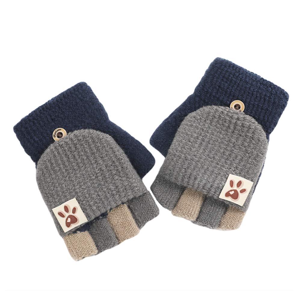 CHUANGLI Kid Boy Girls Magic Winter Wool Knit Mitten Convertible Flip Top Fingerless Gloves
