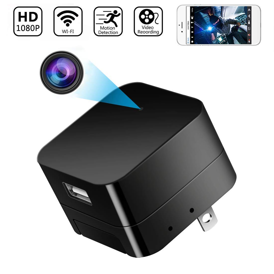 1080P Hidden Cameras for Home Hidden Spy Camera WiFi Spy Camera Mini Spy Camera USB Charger Camera Nanny Cam Camaras Espias Hidden Spy Cam Hidden Camera Charger