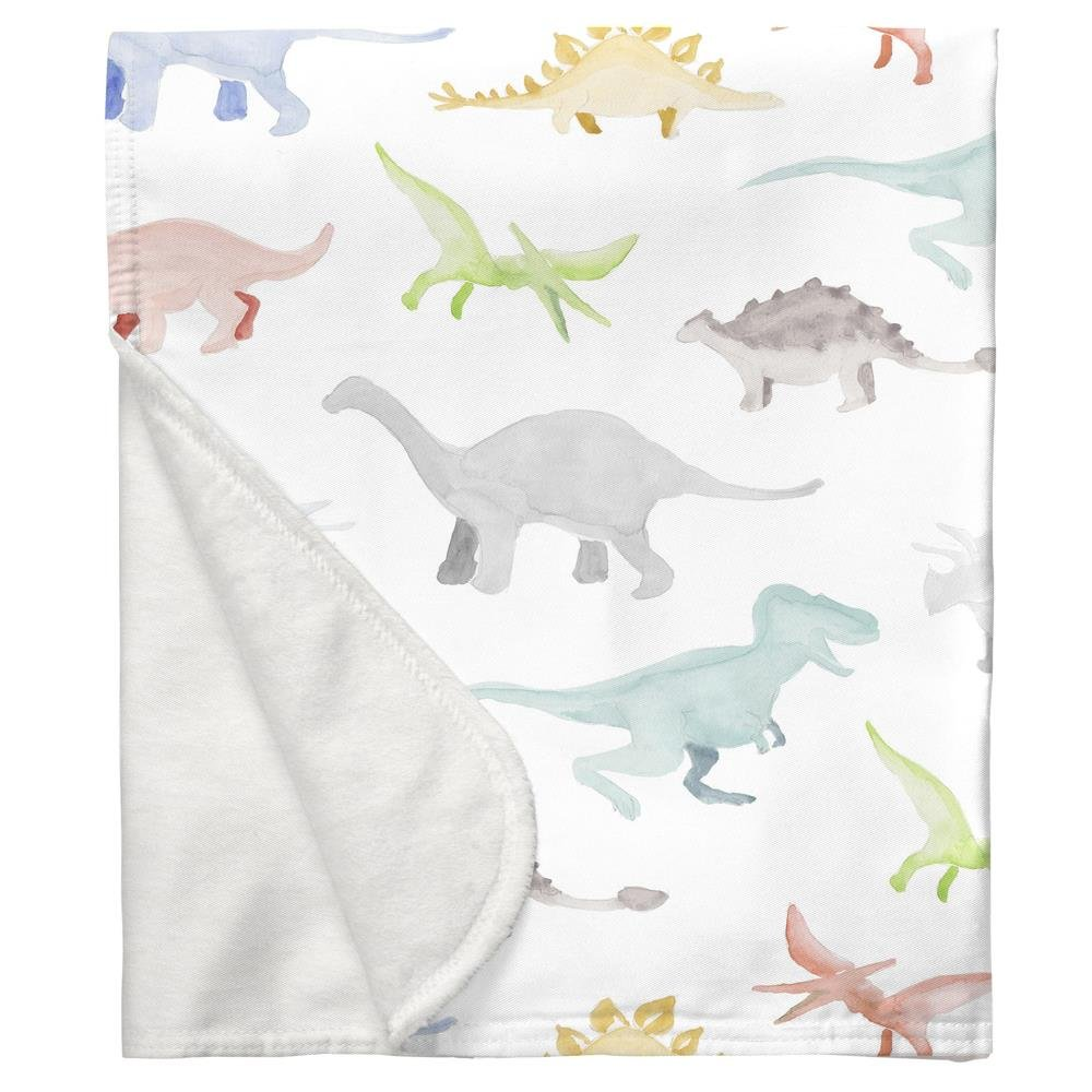 Carousel Designs Watercolor Dinosaurs Crib Blanket
