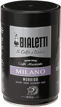 Bialetti Milano Macinato Moka 250 g - Café molido (250 g, Latte macchiato, Moca, 90 mm, 90 mm, 145 mm, Tarro)