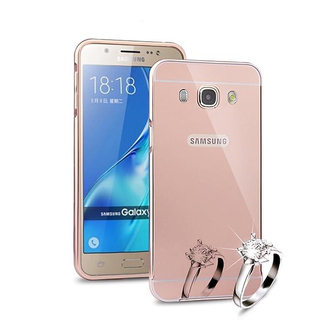 HICASER Duro Híbrido Carcasa para Samsung Galaxy J5 Bumper Case del Metal Aluminio + PC Ultrafina Espejo Efecto Trasero Funda Cover Rosa