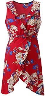 YESOT Pregnant Flowers Print Dresses Women Maternity Fashion V Neck Sleeveless Ruffle Dresses for Travel