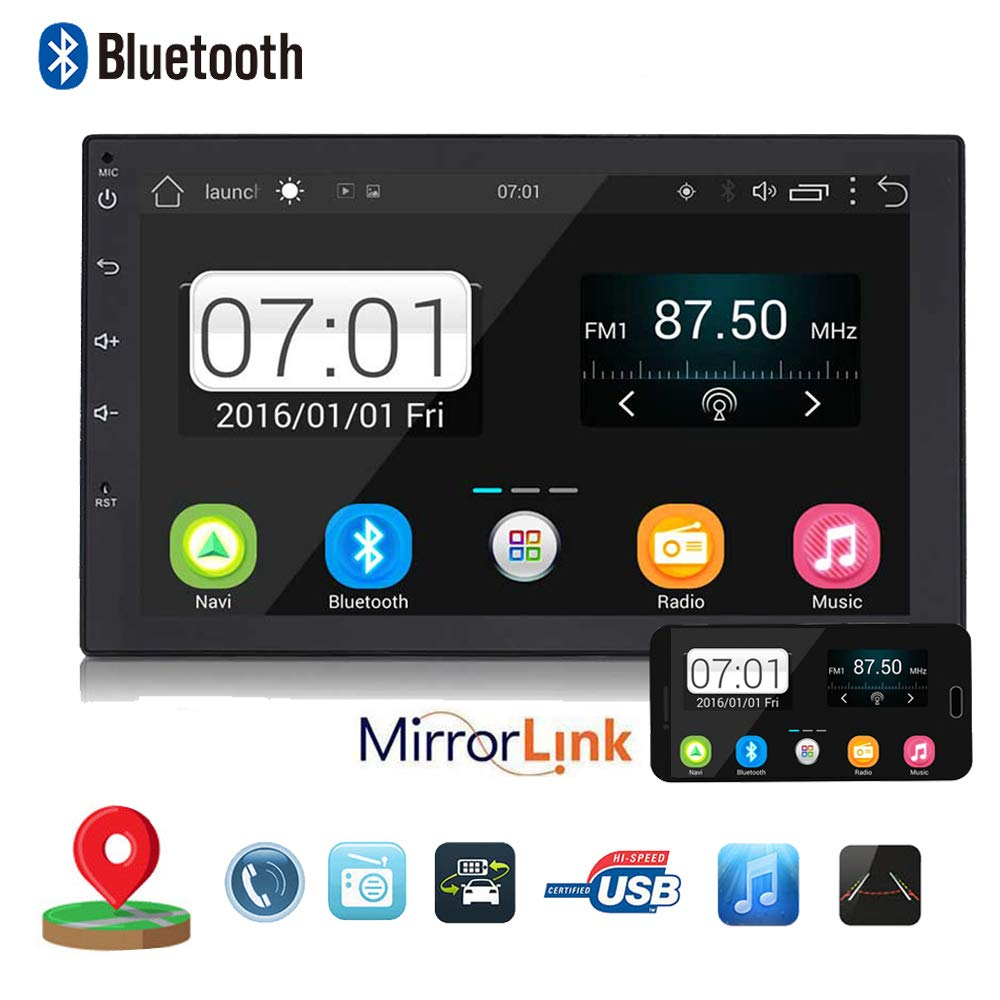 Backup Camera + Double 2Din 7'' Touchscreen in Dash Stereo Android Car Navigation Stereo 1G RAM+16G ROM Car Entertainment Multimedia Radio,FM AM Radio/GPS/WiFi/Mirror Link