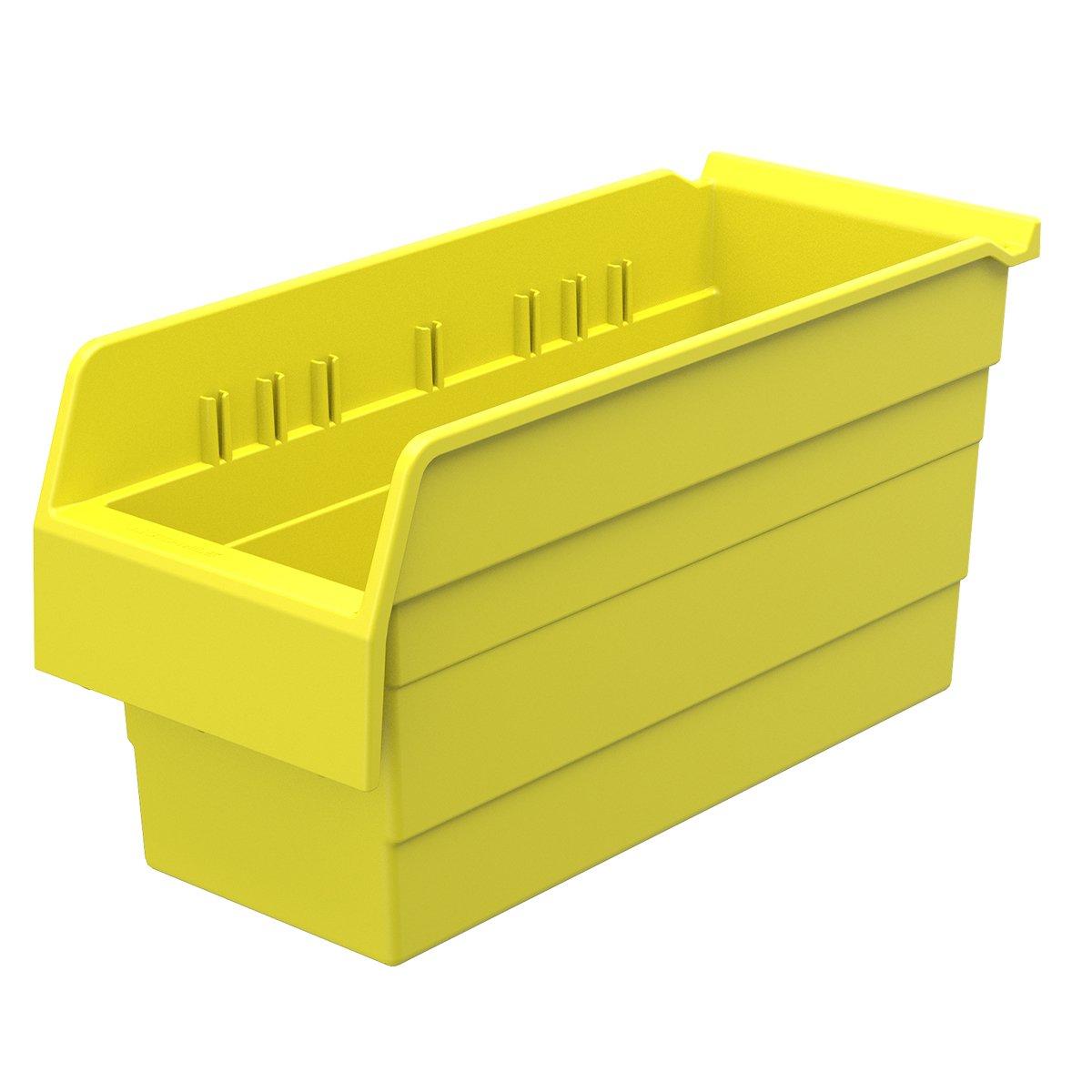 Akro-Mils 30866 ShelfMax 8 Plastic Nesting Shelf Bin Box, 16-Inch x 6-Inch x 8-Inch, Yellow, 10-Pack