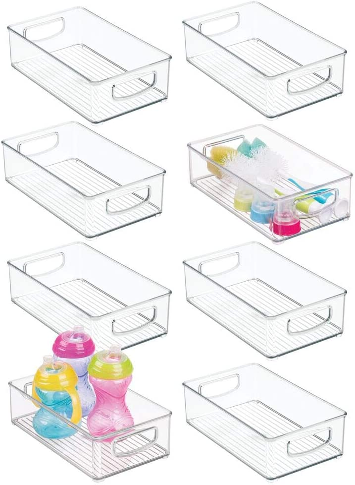 mDesign Plastic Kitchen Pantry Cabinet, Refrigerator or Freezer Food Storage Bins with Handles - Organizer for Fruit, Yogurt, Snacks, Baby Bottles, Jars, 8 Pack - Clear