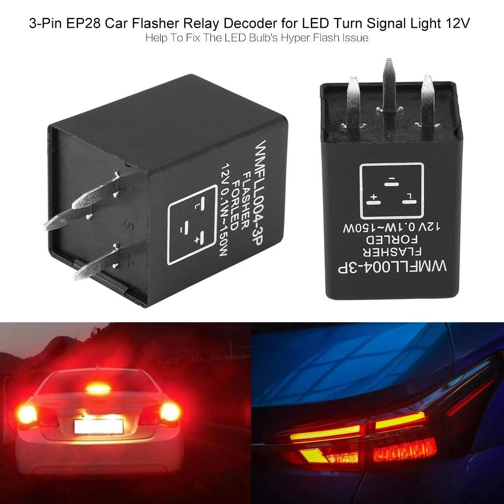 Cuque 3-Pin EP28 LED Flasher Turn Signal Light Electronic Relay 12V Car Flasher Relay Decoder