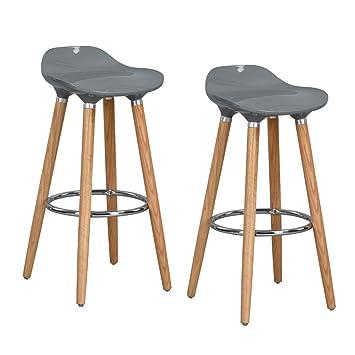wholesale dealer 2b84d 5975e FurnitureR Set of 2 Bar Chair Modern Style Bar Stools Counter Chair Kitchen  Breakfast Barstool with Wooden Legs Grey