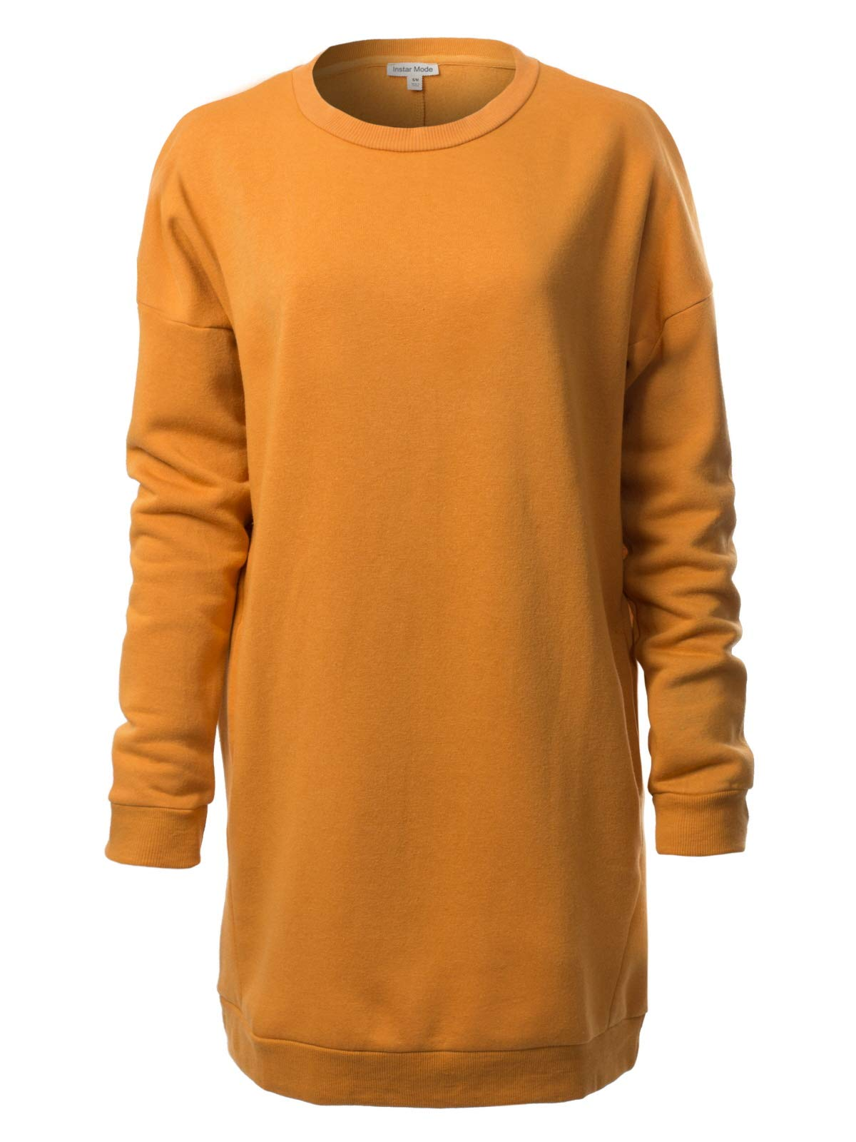 Instar Mode Women's Casual Loose Fit Round Neck Long Sleeves Over-Sized Tunic Sweatshirts Mustard ML