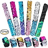 12 Piece Mermaid Bracelet for Party Favors, Two-color Reversible Sequin Slap Bracelets, Adjustable Mermaid Wristband Birthday Party Favors Supplies for Kids, Girl, Boys