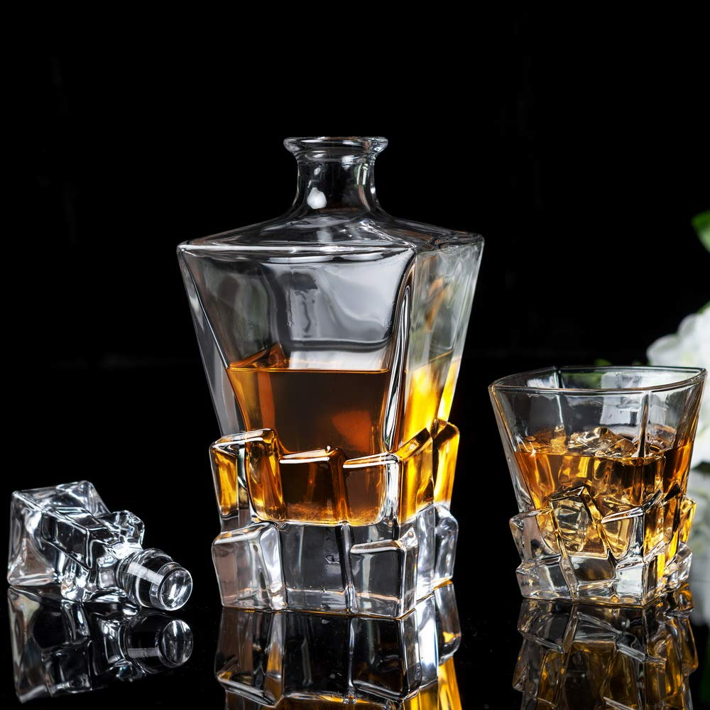 KANARS Iceberg Whiskey Decanter Set With 4 Glasses In Luxury Gift Box - Original Lead Free Crystal Liquor Decanter Set For Scotch or Bourbon, 5-Piece by KANARS (Image #2)