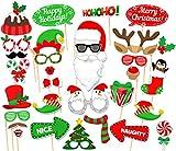 32PCS Christmas Xmas Santa Party Card Masks Photo Booth Props Mustache Supplies
