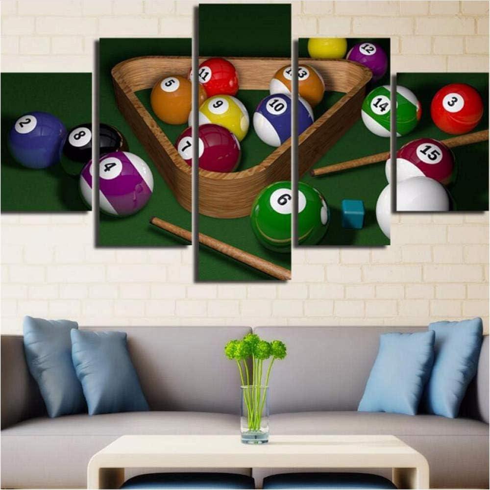 YANGSHUANG Billar Lienzo Arte de la Pared 5 Paneles Jugando Mesa de Billar Pintura Impresiones en Lienzo para decoración del hogar Sala de Estar Pintura de la Lona: Amazon.es: Hogar