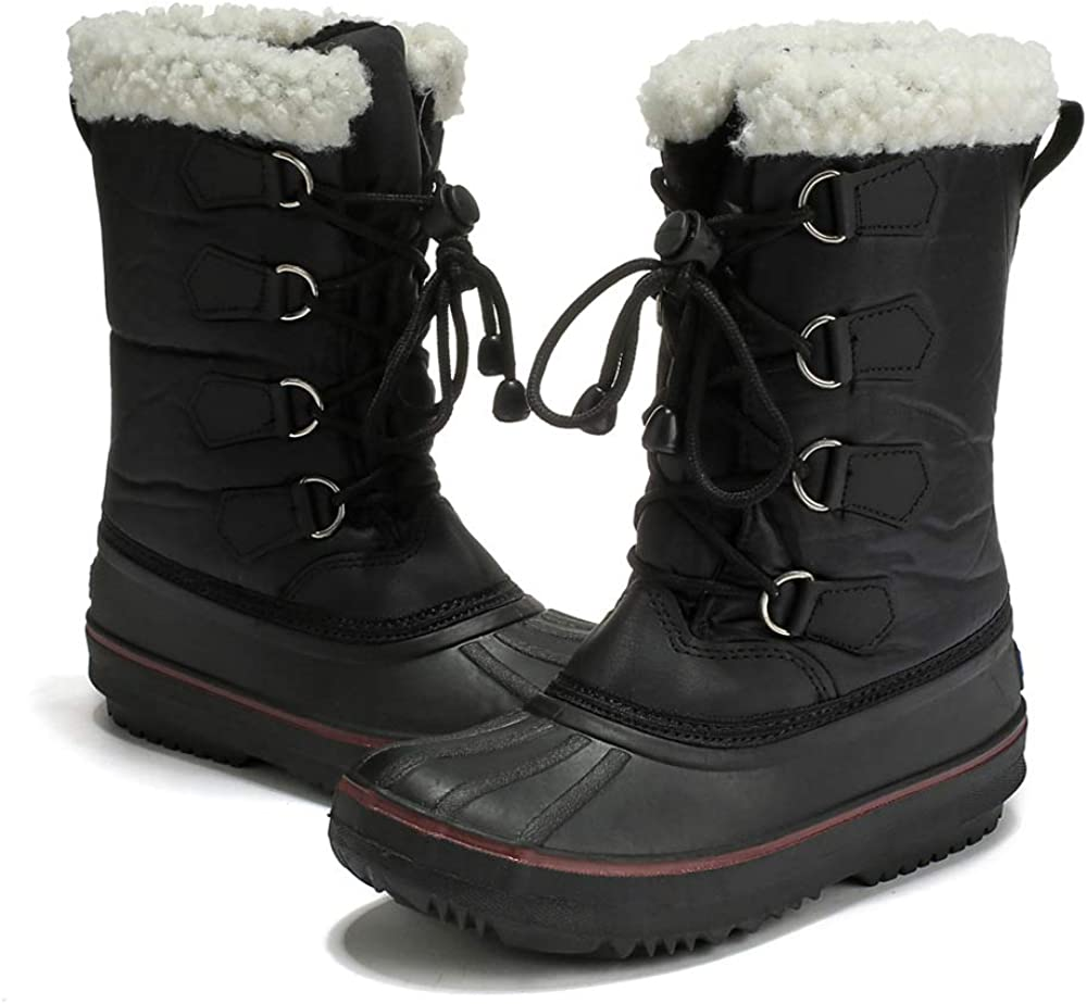 BOZEVON Girls Boys Winter Booties Waterproof Lined High Traction Snow Boots