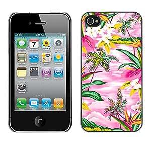 TopCaseStore / la caja del caucho duro de la cubierta de protección de la piel - Watercolor Pink Hawaii Palm Trees Island - Apple iPhone 4 / 4S