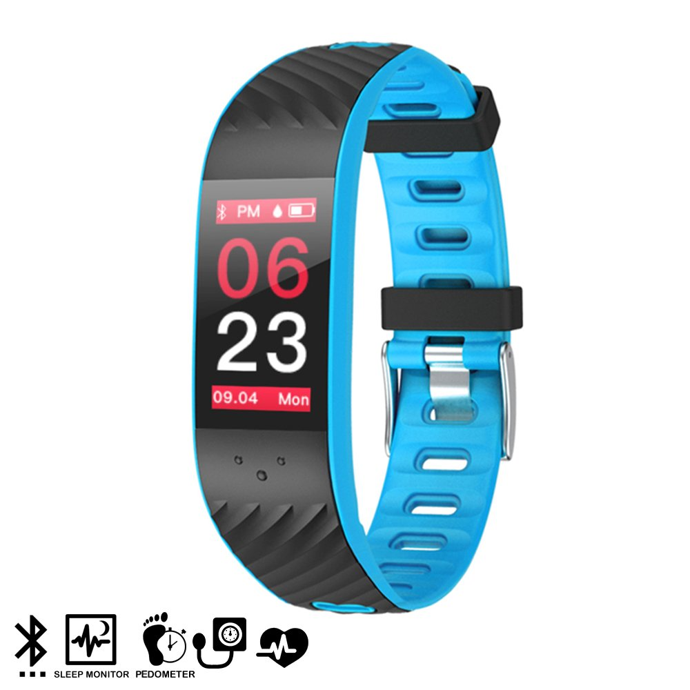 Silica DMX127BL DMX127BL - Brazalete Inteligente p4 con Pantalla a Color, para iOS y Android con Monitor cardíaco y presión sanguínea Azul