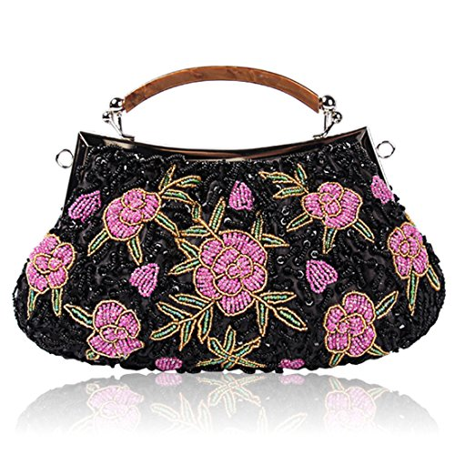 Floral Evening Bags for Women Chic Glass Beaded Flower Clutch Wedding Prom Bride Handbag Purse (Black) Black Glass Beaded Purse