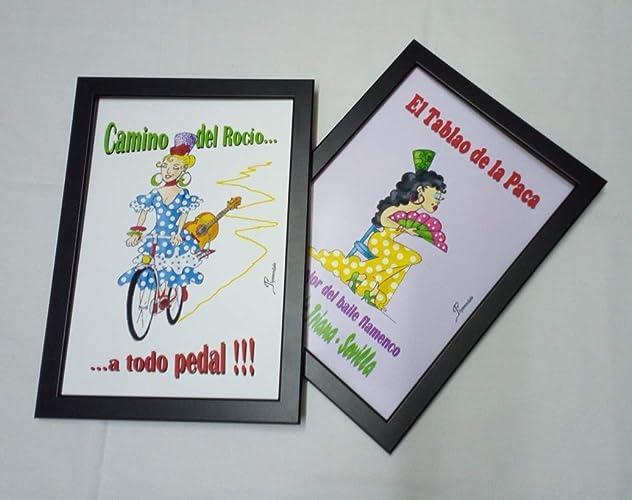 Flamenco, Andalucía, España, feria de abril, los tablaos, el Rocío, estas coloridas láminas enmarcadas y dibujadas a mano darán la nota folclórica a cualquier rincón de tu hogar.: Amazon.es: Handmade