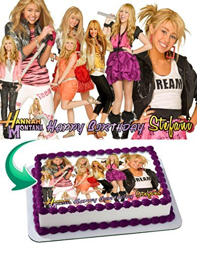 Hannah Montana Personalized - Hannah Montana Edible Cake Topper Personalized Birthday 1/4 Sheet Decoration Custom Sheet Party Birthday on Wafer Rice Paper