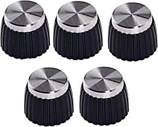 Baosity Pack of 5 Black Plastic Stereo Amplifier Knobs Silver Top for Marshall Accessory