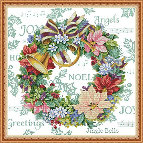 (Stamped Cross Stitch Kits Pre-Printed Pattern, Cross Stitch Holiday Wreath Needlepoint Cross-Stitch Patterns for Beginners Adults, Embroidery Starter Kits for Living Room Home Wall Decorations)