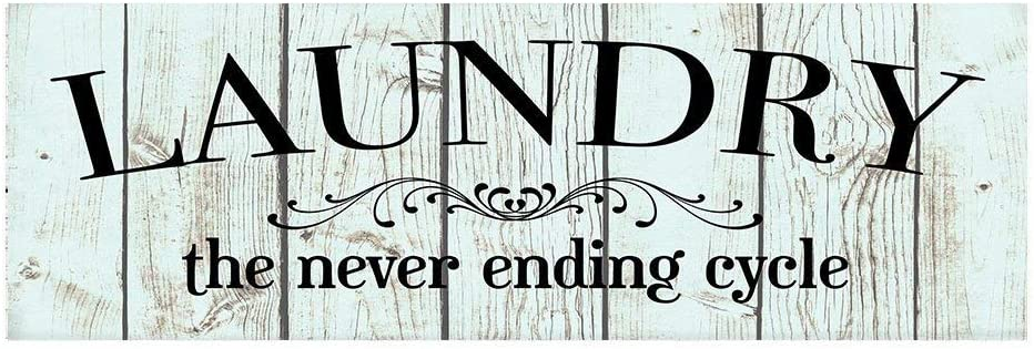 CELYCASY Laundry The Never Ending Cycle Wood Print Sign
