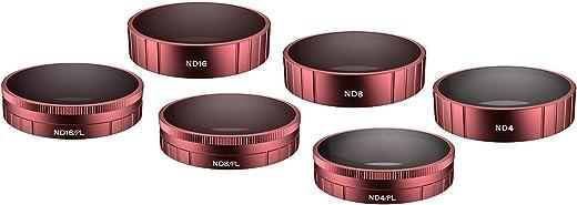 مجموعة فلاتر ND لعدسات كاميرا سكايريت من 6 عبوات - (ND4, ND8, ND16, ND4PL, ND8PL, ND16PL) متوافقة مع اكسسوارات دي جيه اي اوسمو