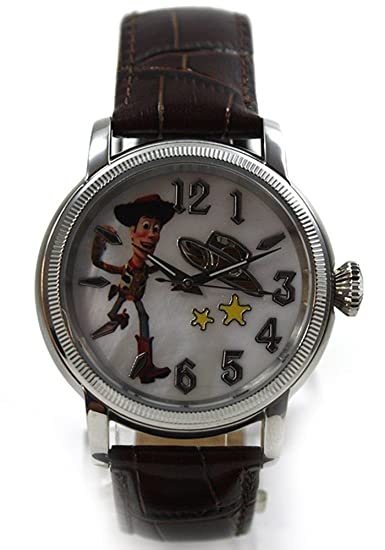 Disney Toy Story Woody automática para reloj de cuero colour marrón y nácar coleccionistas de relojes: Amazon.es: Relojes