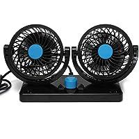 EX1 Coche Doble Ventilador Enfriador 12V Ajustable 360°