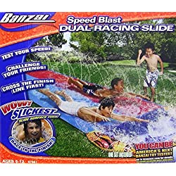 Banzai 16 Foot Speed Blast Dual Racing Water Slide With Spray Splash Pool and Water Spraying Side Rails