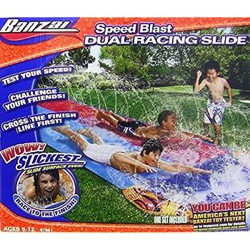 Banzai 16 Foot Speed Blast Dual Racing Water Slide With Spray Splash Pool and Water Spraying Side Rails