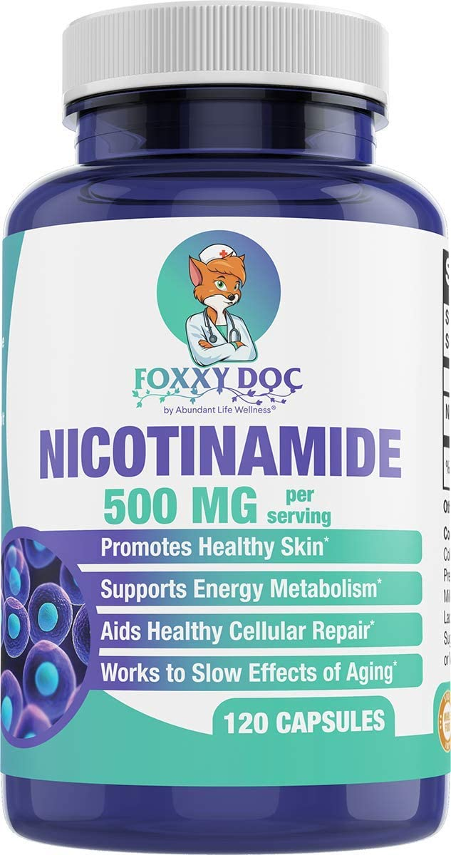 Nicotinamide 500 mg - Vitamin B3 – Anti-Aging – Energy Booster – Cellular & Skin Health - Gluten Free - 120 Veggie Caps by Foxxy Doc