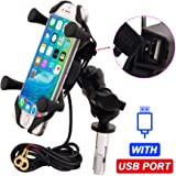 Motorcycle Phone Mount with USB Charger Grip Mobile Phone Holder GPS Navigation Bracket for Suzuki GSX-R 600 750 1000…