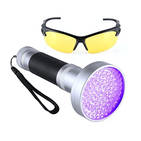 Linterna LED UV 100 LED superbrillante UV detector de orina 395 NM linterna con gafas de