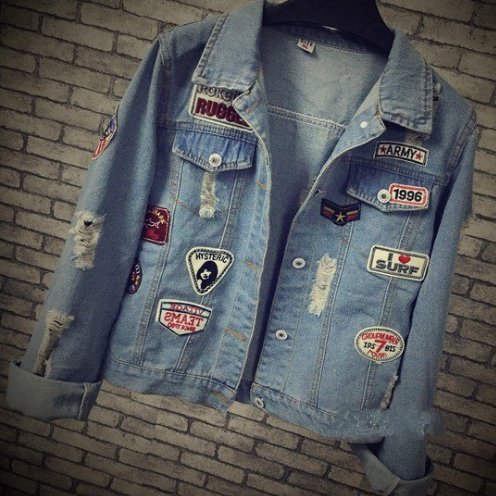 Holes Denim Jacket Female 2016 Spring New Women Coats Trend Patch Chaquetas Mujer Loose Dames Jassen All-Match Abrigos (Guess Jeans Big And Tall)