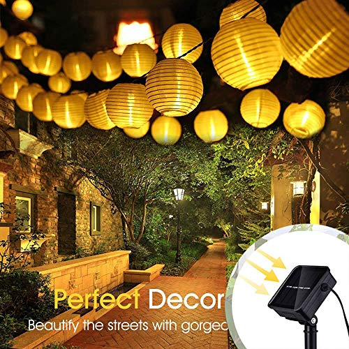 (ALOVECO Solar String Lights Outdoor Lanterns 6.5m/21.3fts 30 LED Waterproof Outdoor Solar Lights Garden Chinese Lantern, String Lights Fairy Lights for Party Christmas Garden Yard(Warm White))