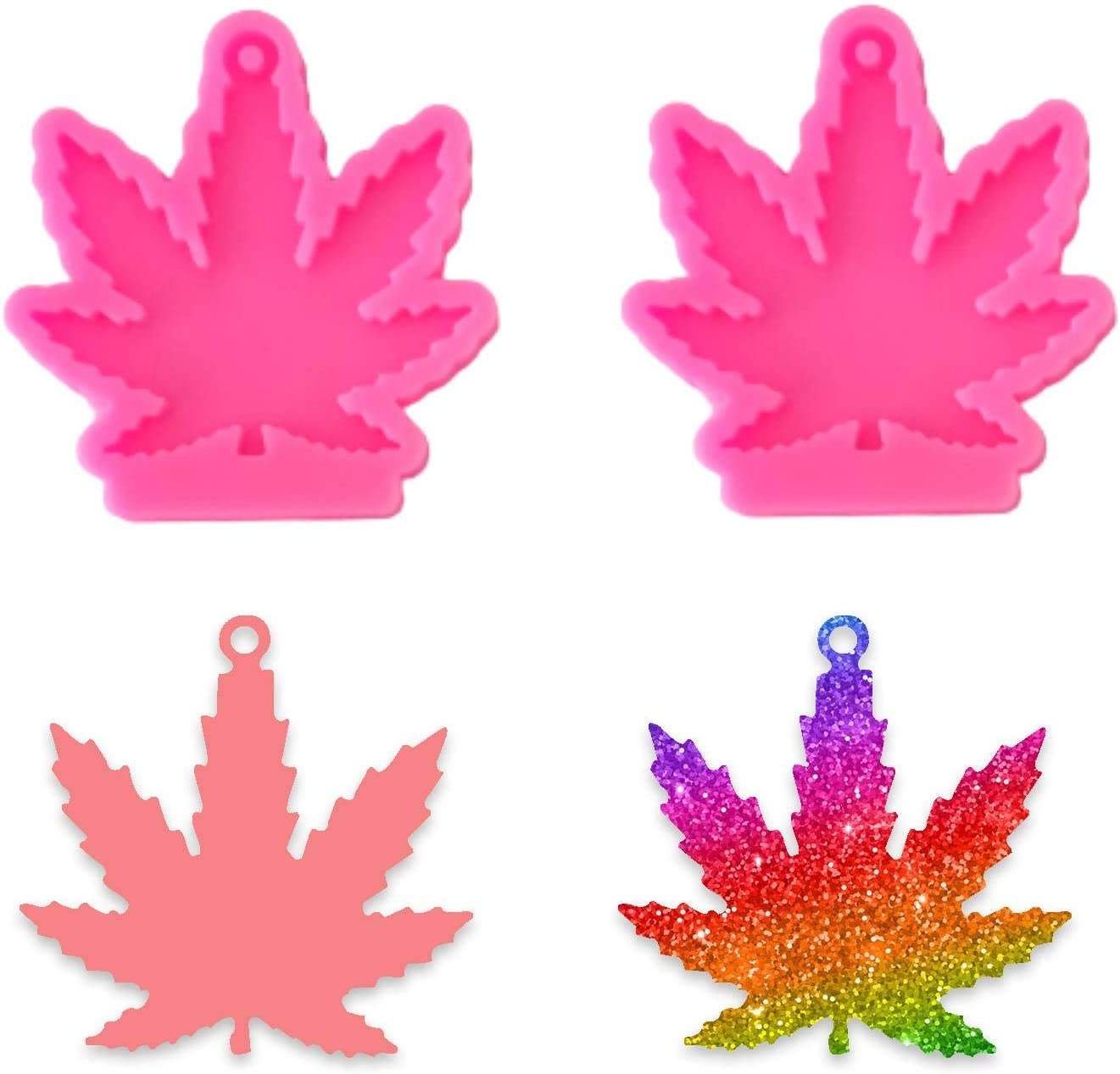 Maple Leaf Keychain Silicone Mold - 2 Pieces Leaves Shaped Handmade Keychain Silicone Mold with Hole for DIY Cupcake Decoration Candy Fondant Pudding Desserts Crystal Gum Paste Soap Mould, Pink
