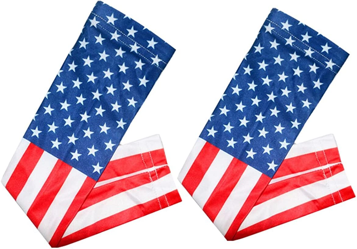 Apply to Football Baseball Basketball Cycling Tennis GEOOT American Flag Compression Arm Sleeve 1 Pair