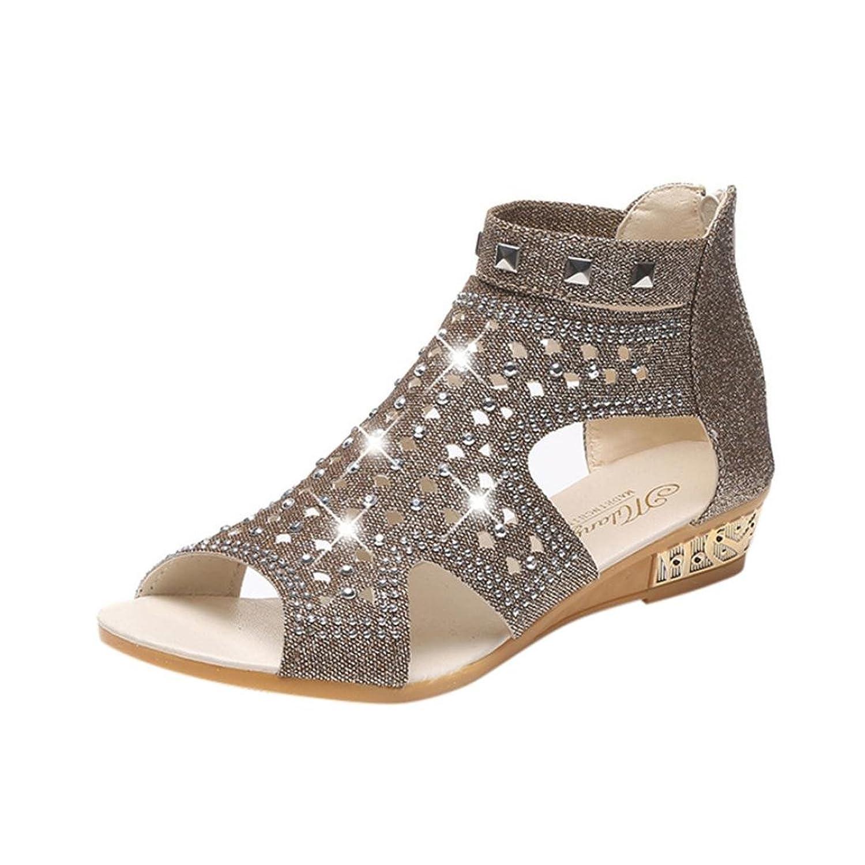 c56d77a9ba6 Inkach Women Wedge Sandals - Fashion Summer Rhinestone Sandals - Hollow  Ankle Roma Shoes Flip Flops