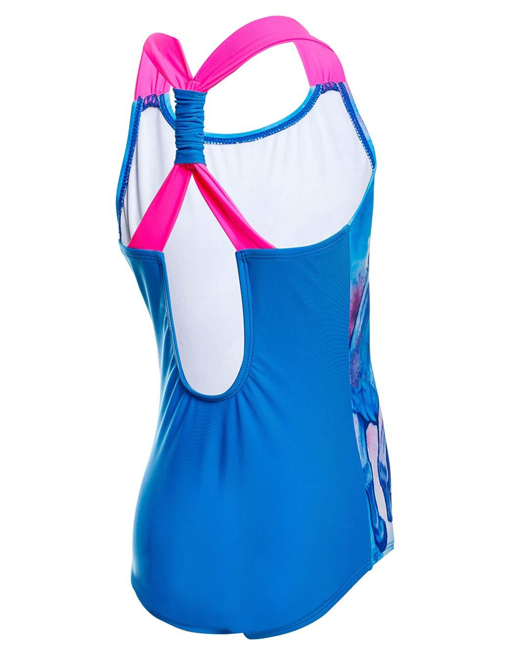 One Piece Swimsuit Ruffle Back Bathing Suit iDrawl Swimwear for Girls