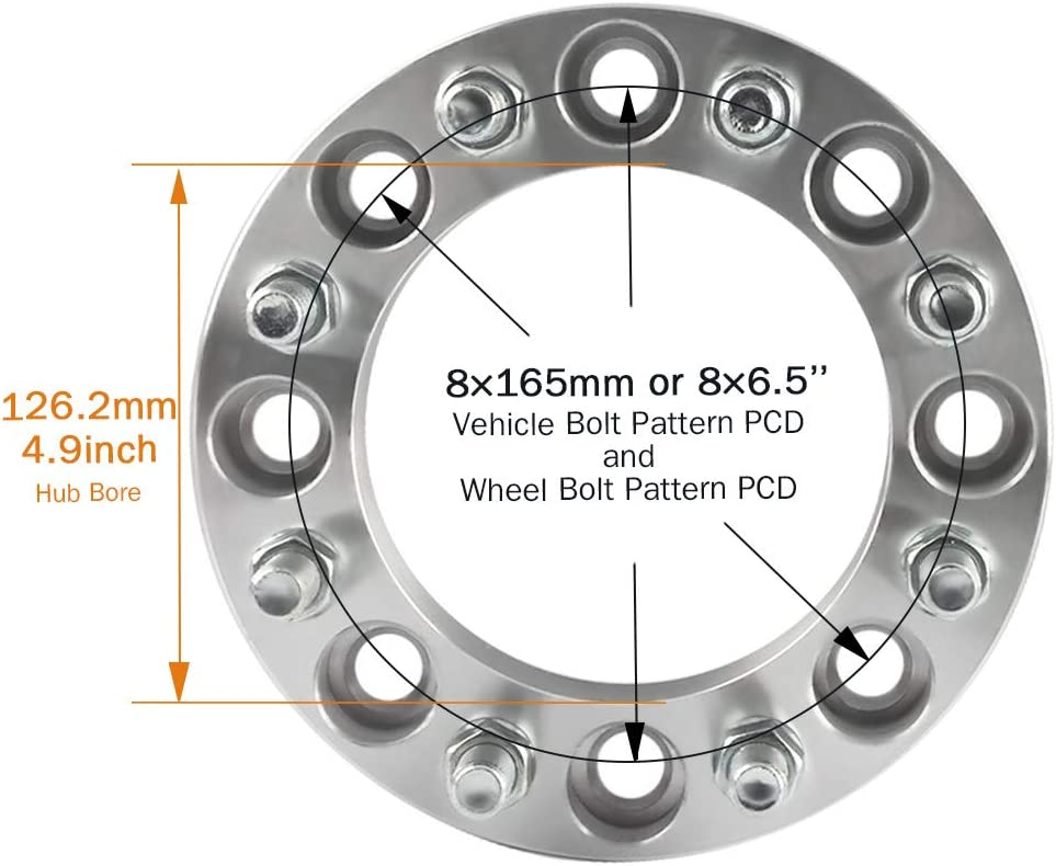 GAsupply Set of 4 Wheel Spacer 8x6.5 Fits for Chevy Avalanche GMC Sierra Wheel Adapter 126.15mm Hub Bore with 14x1.5 Studs 38mm Bolt Pattern 1.5 inch 8x165.1mm