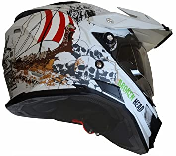 Mx Enduro Fullgas Viking - Casco para quads con visera y parasol, color blanco mate