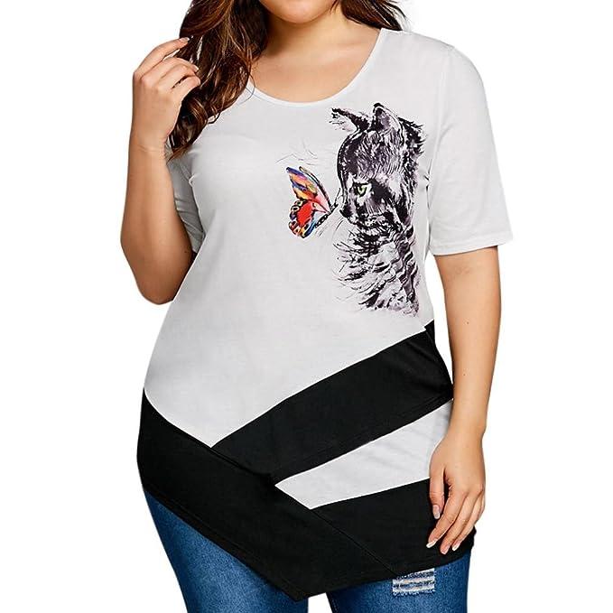 2f59be3b6eed LeeY Frauen Schmetterling Katze Drucken Übergröße T-Shirts Kurzarm Beiläufig  O-Ausschnitt Oberteile Neu