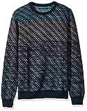 Perry Ellis Men's Ombre Jacquard Crew Sweater, Dark Sapphire, Medium