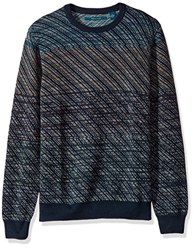 Perry Ellis Men's Ombre Jacquard Crew Sweater, Dark Sapphire, Medium by Perry Ellis