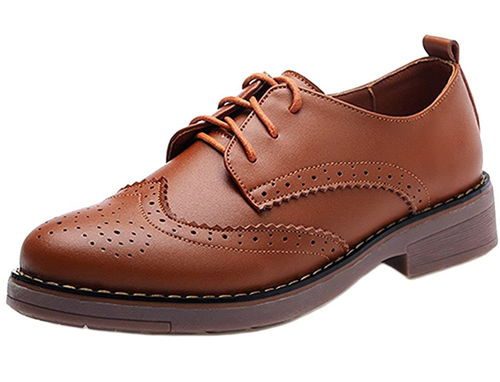 DADAWEN Women's Lace up Oxfords Brogue Leather Shoes 71191YQ