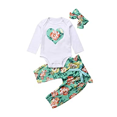 243e11444 Amazon.com  Infants Baby Girl Outfits Set Long Sleeve Letters ...