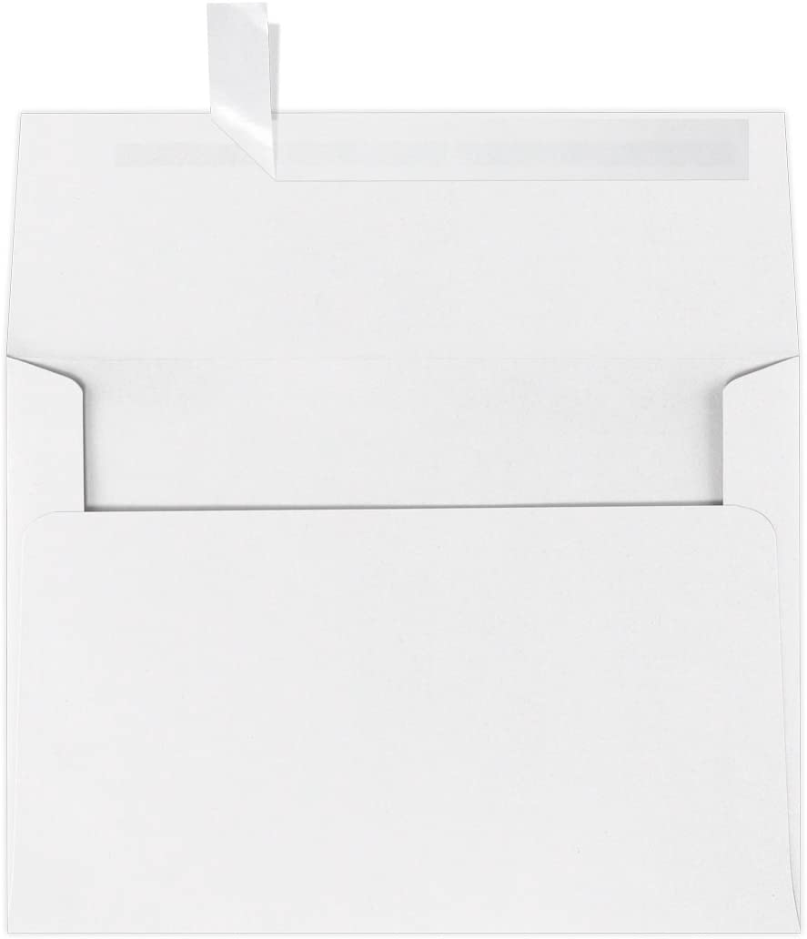LUXPaper A7 Invitation Envelopes for 5 x 7 Cards in 80 lb. Brilliant White - 100% Cotton, Printable Envelopes for Invitations, w/Peel and Press Seal, 50 Pack, Envelope Size 5 1/4 x 7 1/4 (White)