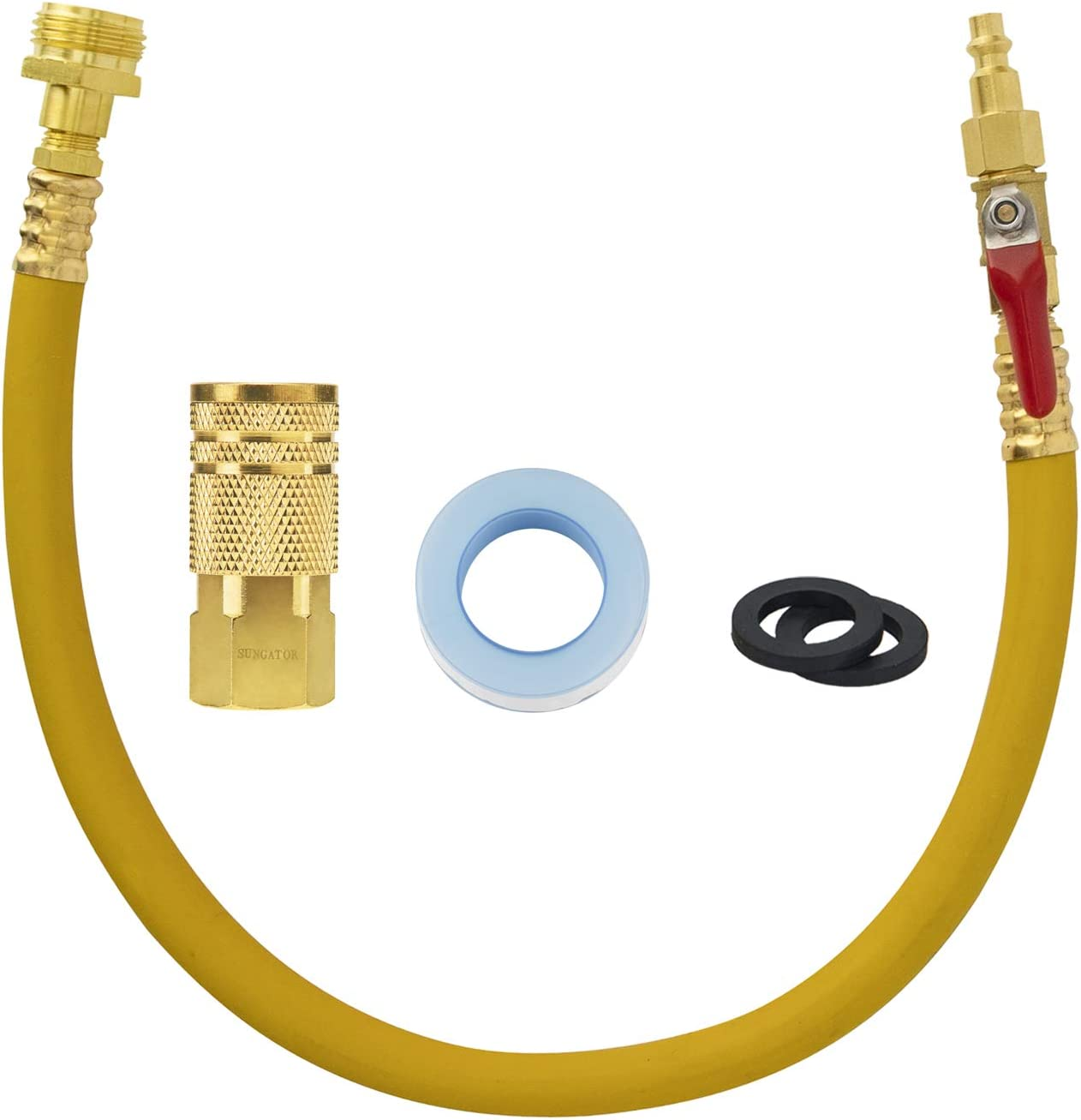 """SUNGATOR RV & Sprinkler Systems Winterize Blowout Adapter Kit with 20"""" Hose and Valve, Water Blow Out Plug with 6-Ball Air Quick Connector for Irrigation Systems, Camper, Trailers, Boat, Motorhome"""